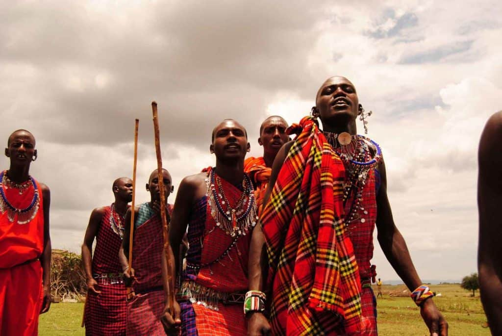 Maasai tribe red clothes